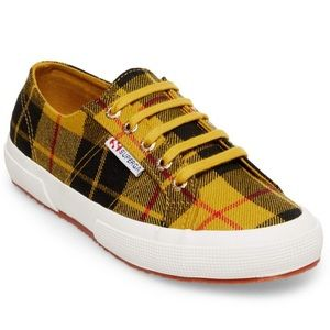 Superga Tartan Yellow Plaid Shoes, sz 8